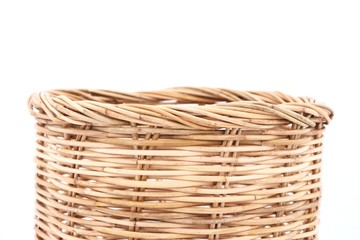Rattan basket on isolated white