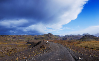 Gravel road in Iceland.