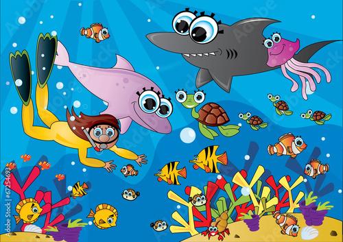 Głębiny morskie z rybkami