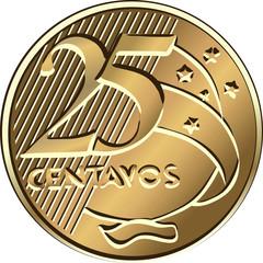 Vector Brazilian centavo coin twenty-five
