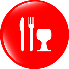 Eat sign icon. Cutlery symbol. Knife, fork and wineglass