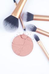 Crushed blush with brushes on white background