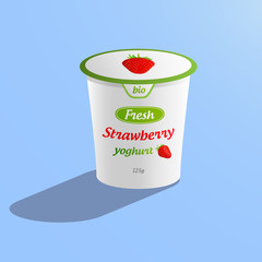 Illustration of a bio strawberry yoghurt