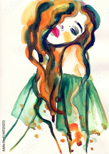 Fotobehang Aquarel Gezicht woman portrait .abstract watercolor