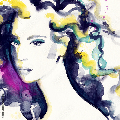 Keuken foto achterwand Aquarel Gezicht woman portrait .abstract watercolor