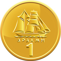 vector Greek money gold coin featuring ship