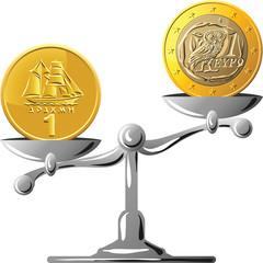 vector Greek drachma versus the euro
