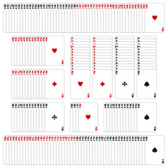 Rows of playing cards