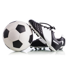 Soccer ball and soccer shoes