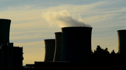 detail of cooling towerat dusk,real time