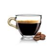 Leinwandbild Motiv Caffè caldo in tazza con chicchi di caffè
