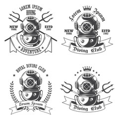 Set of diving labels, emblems and designed elements