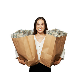 happy woman holding paper bags