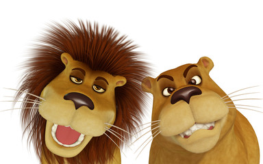 3d cartoon lion family