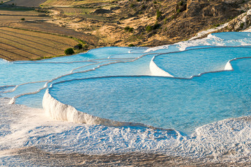 Famous travertine pools and terraces in Pamukkale, Turkey
