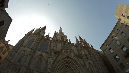 Barcelona gothic cathedral birds flying by