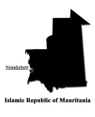 Black map of Islamic Republic of Mauritania in English
