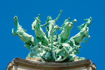 Statue on the roof of Grand Palais, Paris
