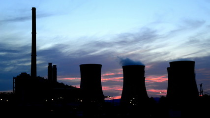 silhouette of power station, time lapse,no birds