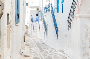 Haus Fassaden auf der Insel Kreta: alte Treppen in Blau