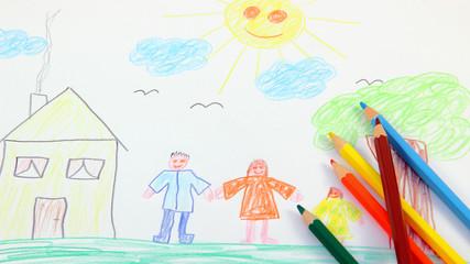 Kinderbild mit Buntstifte