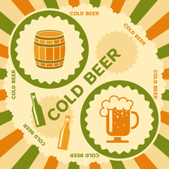 Beer poster retro design. Vector illustration