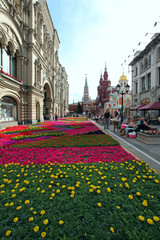 Flower landscaping on Nikolskaya Street in historic center of Mo