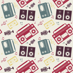 retro gadgets monochrome pattern