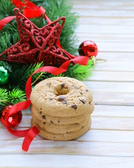 cookies with chocolate with Christmas tree  and decorations