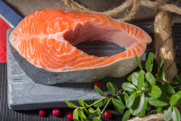 Norwegian Trout - Red fish, lingonberry leaves and berries