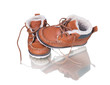 kid's leather shoes on white background