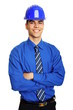 Young smiling businessman in a protective helmet