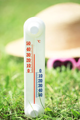 Thermometer on grass close-up