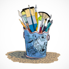 Drawing tools holder sketch