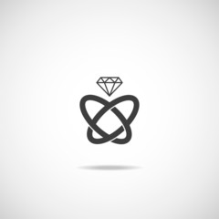 Wedding rings vector icon.