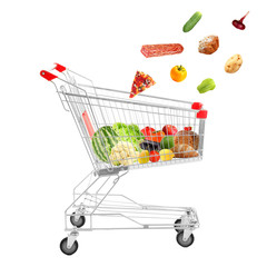 Full shopping trolley, isolated on white