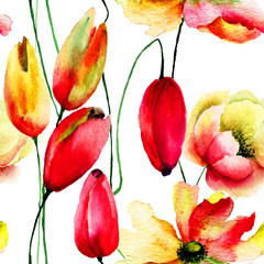 Watercolor illustration of Tulips an Gerbera flowers