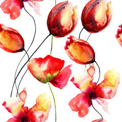 Watercolor illustration with original red flowers