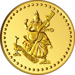 vector money gold coin with the image of Shiva