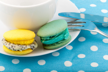 Sweet and colorful French macaroons on pastel background