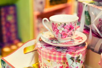 Vintage porcelain tea set on the table