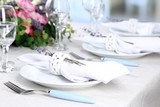 Fototapety Dining table setting with lavender flowers