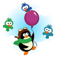 penguin on balloon - vector  illustration, eps