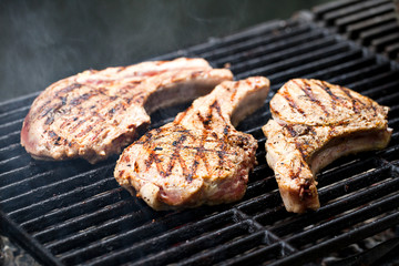 Pork chops on grill