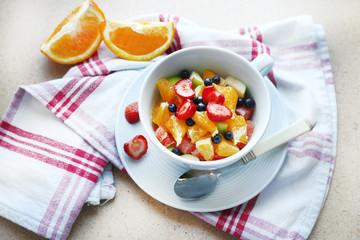 Useful homemade fruit salad, close-up