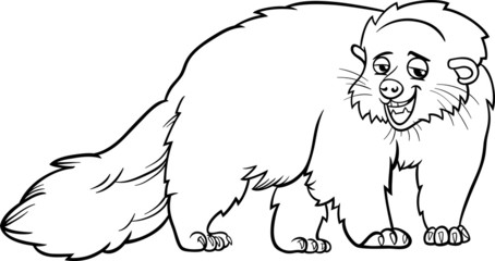 bearcat animal cartoon coloring page