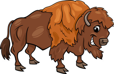 bison american buffalo cartoon illustration