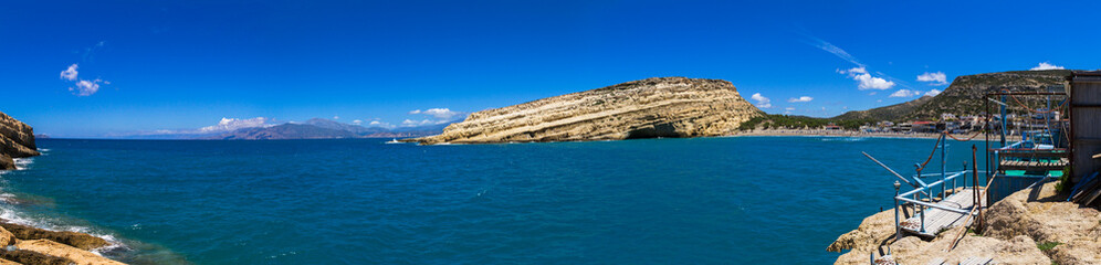 Panoramic skyline view of Matala south Crete