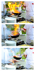 Set of Chef Prepares on Fire