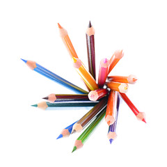 Colored Pencil Isolated on White Background.